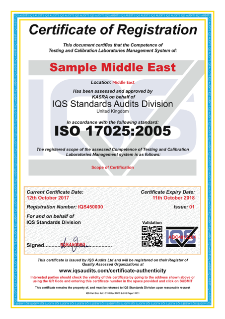 Sample certification